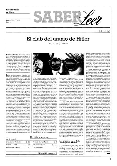 """Portada de """"Revista Saber Leer 2003"""""""