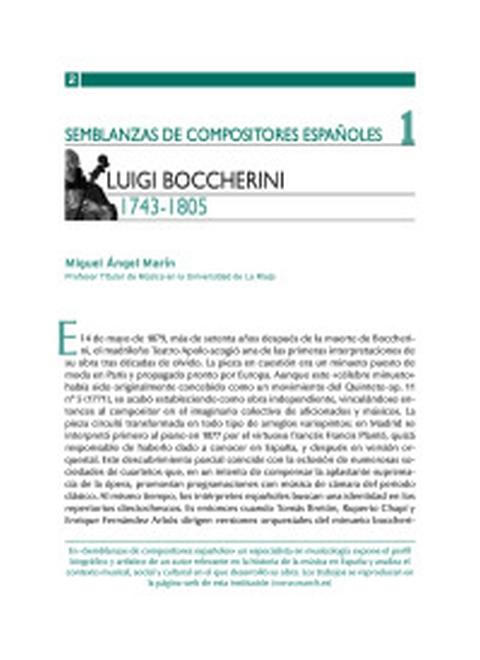 """Portada de """"Luigi Boccherini (1743-1805)"""""""