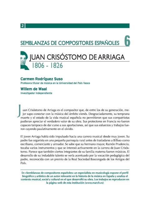 """Portada de """"Juan Crisóstomo de Arriaga (1806-1826)"""""""