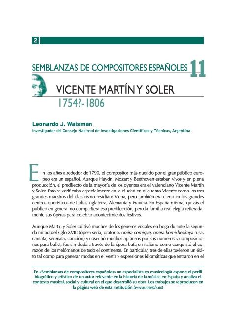 """Portada de """"Vicente Martín y Soler (1754?-1806)"""""""