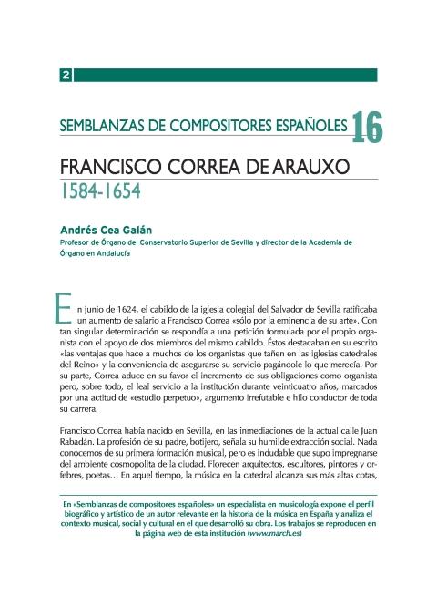 """Portada de """"Francisco Correa de Arauxo (1584-1654)"""""""