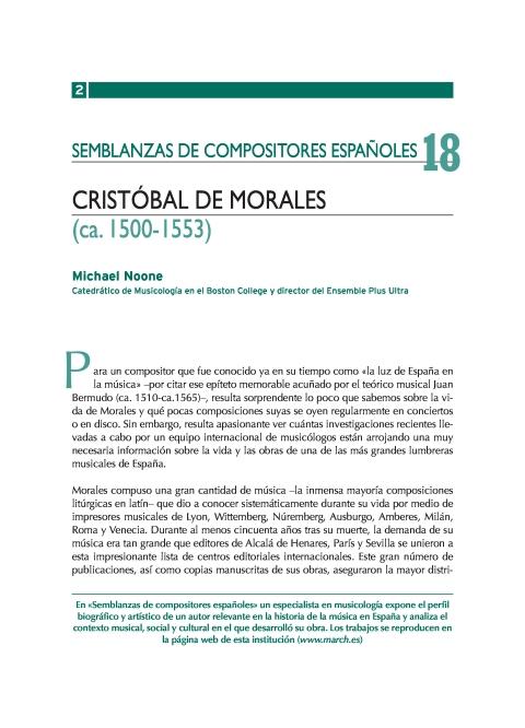 """Portada de """"Cristóbal de Morales (ca. 1500-1553)"""""""