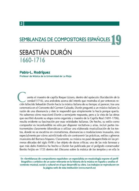 """Portada de """"Sebastián Durón (1660-1716)"""""""