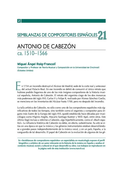 """Portada de """"Antonio de Cabezón (ca. 1510-1566)"""""""