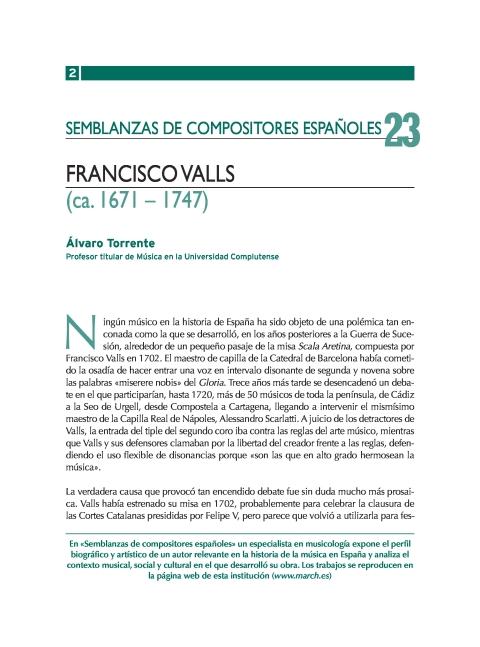 """Portada de """"Francisco Valls (ca. 1671-1747)"""""""