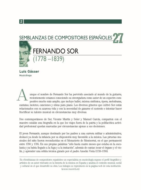 """Portada de """"Fernando Sor (1778-1839)"""""""