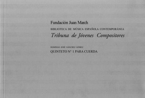 """Portada de """"Quinteto n.º 1 para cuerda"""""""