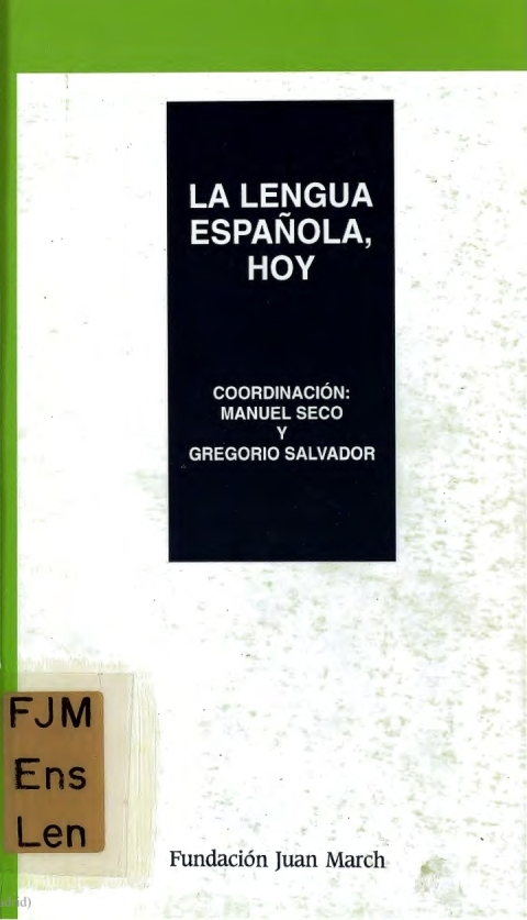"Portada de ""La lengua española, hoy"""