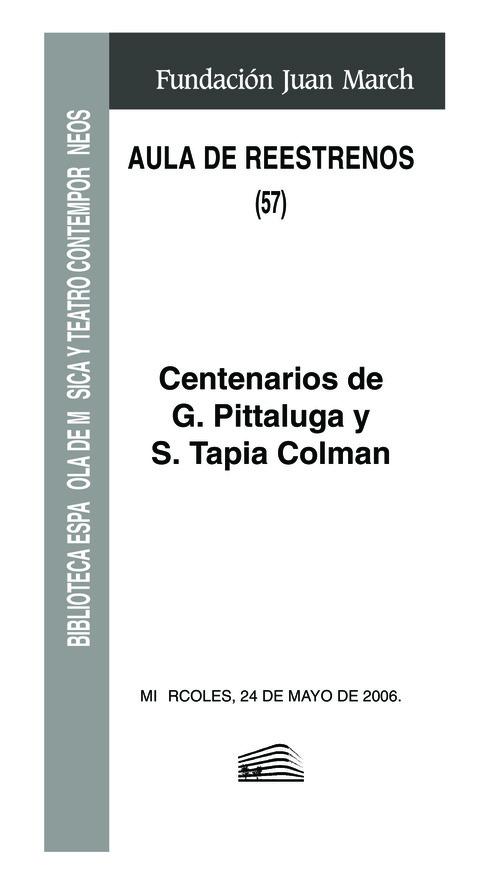 """Portada de """"Aula de (Re)estrenos (57). Centenarios de G. Pittaluga y S. Tapia Colman"""""""