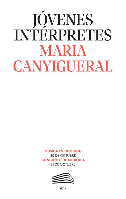"""Portada de """"Maria Canyigueral. Jóvenes intérpretes. 20 y 21 de octubre de 2019"""""""