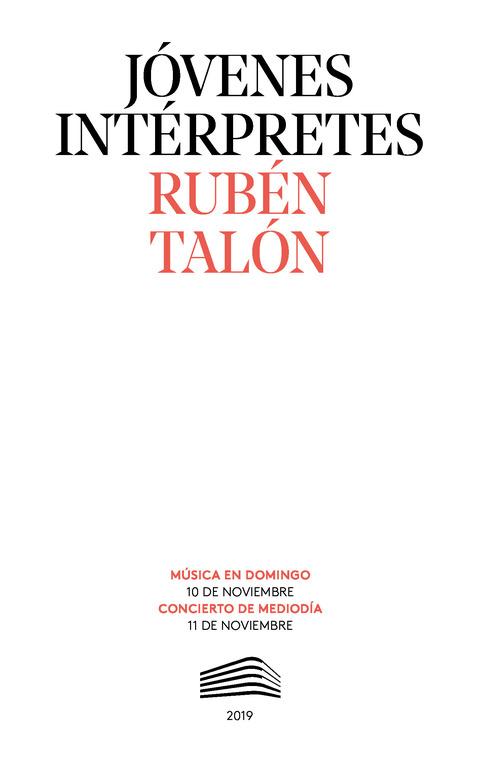 """Portada de """"Rubén Talón. Jóvenes intérpretes. 10 y 11 de noviembre de 2019"""""""