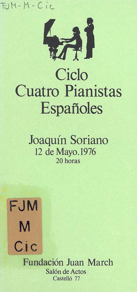 """Portada de """"Cuatro pianistas españoles (1976). (y III). Ciclos de Miércoles. 12 de mayo de 1976"""""""