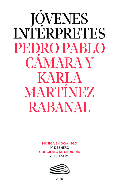 """Portada de """"Pedro Pablo Cámar. Karla Martínez. Jóvenes intérpretes. 20 de enero de 2020"""""""