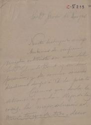 Borrador de carta de Carlos Fernández Shaw y José Torres Reina a Javier de Burgos.
