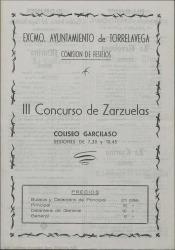 Programa del III Concurso de Zarzuelas : Coliseo Garcilaso (Torrelavega).