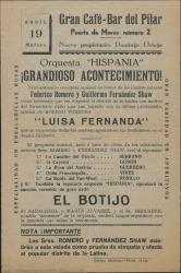 Extraordinario concierto musical en honor de los ilustres autores Federico Romero y Guillermo Fernández-Shaw : Gran Café-Bar del Pilar (Madrid).