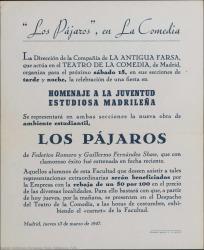 Los pájaros, de Federico Romero y Guillermo Fernández-Shaw : Teatro de la Comedia (Madrid).