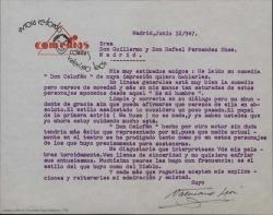 """Carta de Valeriano León a Guillermo y Rafael Fernández-Shaw, rechazando cualquier posibilidad de interpretar """"Don Celofán"""" por encontrar que la obra tiene un estilo asainetado que considera un poco pasado, muy visto y con poca gracia."""