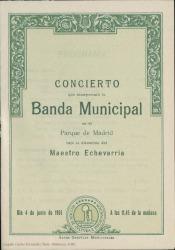 Programa de mano del concierto de la Banda Municipal de Madrid, dirigida por el maestro Echevarría, en el que se interpretaron obras de Carlos Fernández Shaw, con motivo de los cincuenta años de su fallecimiento : Parque de Madrid.