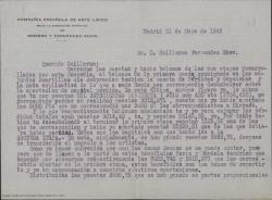Carta de Federico Romero a Guillermo Fernández-Shaw haciendo balance de ingresos y gastos relativo a las dos etapas desarrolladas por una compañía teatral.