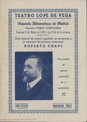 Gran festival de música en homenaje a la memoria del glorioso compositor Ruperto Chapí, con ocasión del primer centenario de su nacimiento : Teatro Lope de Vega, Madrid.