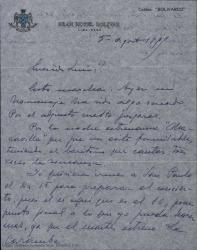 Cartas De Federico Moreno Torroba a Luis [?] contándole los éxitos que está teniendo en Perú y algunos comentarios de tipo personal.