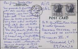 Tarjeta postal de Carlos [?] a Guillermo Fernández-Shaw desde Puerto Rico, dando noticias de las conferencias que está dando y de su éxito.