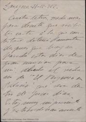 Carta a Guillermo Fernández-Shaw firmada por Juan [?] dando saludos para toda la familia y diciéndole que le escribirá extensamente cuando esté más tranquilo y haya pasado cierto evento.