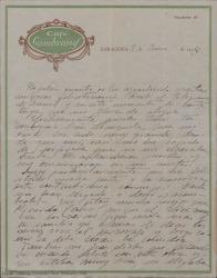 Carta a Guillermo Fernández-Shaw firmada por Juan [?] comentando el éxito que ha tenido y agradeciendo sus muestras de apoyo y sus felicitaciones.