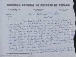 Carta de Manuel Parada de la Puente a Guillermo Fernández-Shaw, interesándose por su viaje y contándole noticias de familiares y amigos así como de temas teatrales.