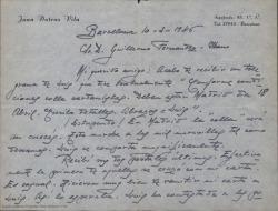 Carta de Joaquín Dotrás Vila a Guillermo Fernández-Shaw, diciéndole que todo va muy bien y que Luis [?] se comporta magníficamente.