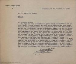 """Carta de Lorenzo González Iglesias a Federico Romero, y contestación de éste, sobre la proposición de que se represente """"Peñamariana"""" en su totalidad o en parte durante unas fiestas patronales de la Alberca, en Salamanca."""