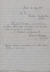 Carta de Abelardo Llombart a Guillermo Fernández-Shaw, invitándole a un concierto en el que participa.