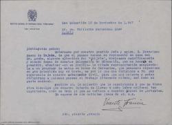 Carta de Vicente Francia solicitando a Guillermo Fernández-Shaw permiso para representar una obra suya en un acto de homenaje a Cervantes.