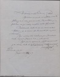 Carta de firma ilegible agradeciendo a Guillermo y Rafael Fernández-Shaw la gentileza y rapidez con que han cumplido su ofrecimiento.