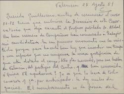 Carta de Leopoldo Magenti a Guillermo Fernández-Shaw, pidiéndole ayuda para conseguir ser nombrado Director del Conservatorio de Valencia.