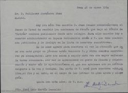 Carta de José Luis Martín Descalzo a Guillermo Fernández-Shaw, agradeciendo su interés por los cuadernos de poesía que editan y solicitando su ayuda en forma de crítica exigente y a la vez benigna.