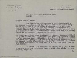 Carta de la Sociedad General de Autores de España a Guillermo Fernández-Shaw, contestando a la petición de información y fotografías de diversos compositores españoles del editor japonés F. Fujita, que les ha remitido.
