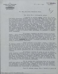 """Carta de Luis de la Peña a Guillermo Fernández-Shaw, agradeciéndole un artículo publicado en """"HOY"""" en el que habla muy favorablemente de su último libro."""