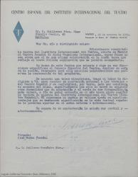 Carta de Jose Muñóz Fontán, del Centro Español del Instituto Internacional del Teatro, a Guillermo Fernández-Shaw invitándole a formar parte del mismo e indicándole los trámites a seguir para ser considerado miembro.