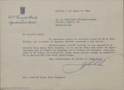 Carta de José María Soler Díaz Guijarro, del Ayuntamiento de Madrid, a Guillermo Fernández-Shaw, mostrándose totalmente de acuerdo con los cambios que han hecho en el programa de la Fiesta del Sainete.