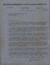 Carta de la Sociedad General de Autores de España a Guillermo Fernández-Shaw, comentando informes y condiciones de ciertos posibles contratos.