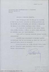Carta de Lino Landy a Guillermo Fernández-Shaw, saludándole y preguntándole por sus antiguos planes teatrales conjuntos. Aprovecha para decirle que sigue interesado en hacerse una empresa teatral en Madrid, pidiéndole su opinión al respecto.