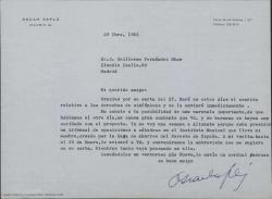 Carta de Oscar Esplá a Guillermo Fernández-Shaw, hablando sobre un posible proyecto de colaboración.