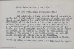 Tarjeta de Alfonso Trias a Guillermo Fernández-Shaw, confirmando su asistencia a un acto de homenaje a los hermanos Álvarez Quintero y comentando sus actividades profesionales.