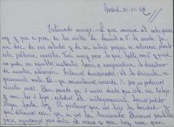 Carta de Carmen, esposa de Samuel Serrano, a Guillermo Fernández-Shaw, contándole la grave situación económica que atraviesa su familia y pidiendo ayuda a la Sociedad General de Autores de España.