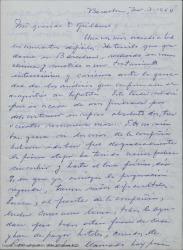 Carta de Carlos Miguel Suárez Radillo a Guillermo Fernández-Shaw, contándole su enfermedad y los problemas económicos por los que pasa él y su compañía teatral y pidiéndole ayuda.