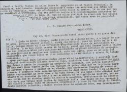 Carta de Juan de Viniegra a Carlos Manuel Fernández-Shaw, diciéndole que ve muy justo el realizar un homenaje a Carlos Fernández Shaw y que a pesar de su avanzada edad va a colaborar en lo posible para que se lleve a cabo.