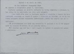 Carta de José Olmedo a Guillermo Fernández-Shaw, enviándole una lista completa de las obras de la antología que prepara y para la que cuenta con que hará el prólogo.