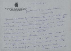 Cartas con firma ilegible a Guillermo Fernández-Shaw, comunicándole que cesa de su cargo en el ayuntamiento, que está deseando emprender una nueva vida más libre de horarios y obligaciones y contándole como se ha adaptado a su nueva vida.